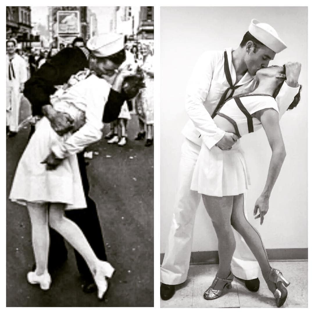photo: the original sailor-kissing-girl photo, with reenactment by Georgina Pazcoguin and Tyler Hanes