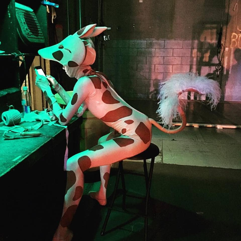 photo: backstage actor in dog costume