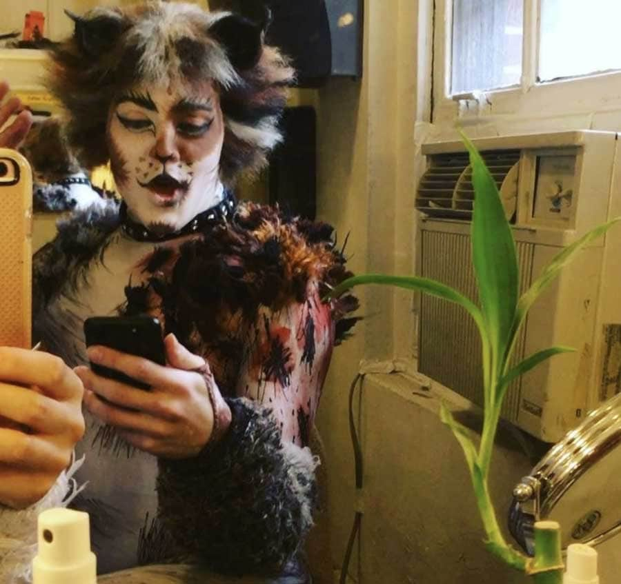 photo: backstage fun with CATS, the Broadway cast