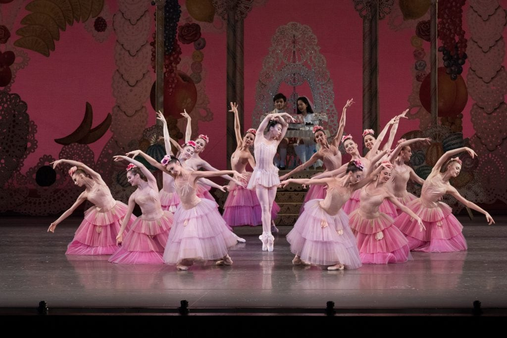 This is a photo of the opening scene of the Waltz of the flowers where Georgina is the Dew Drop.